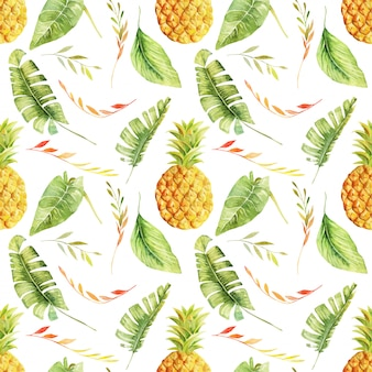 Seamless pattern of watercolor pineapple and tropical leaves, hand painted isolated illustration