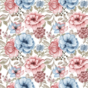 Seamless pattern watercolor pink blue flowers background