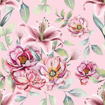 Seamless pattern of watercolor pink flowers