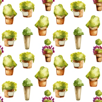 Seamless pattern of watercolor plants in clay pots