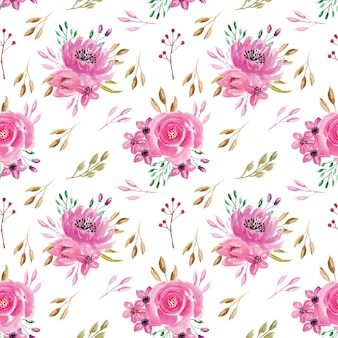 Seamless pattern watercolor rose pink