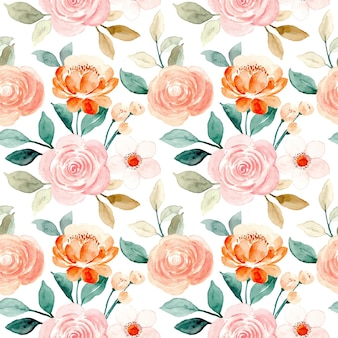 Seamless pattern of watercolor roses