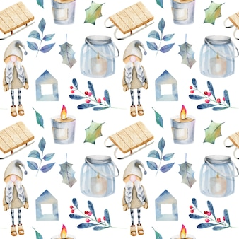 Seamless pattern of watercolor scandinavian christmas decorations and plants