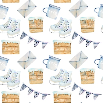 Seamless pattern of watercolor scandinavian christmas items