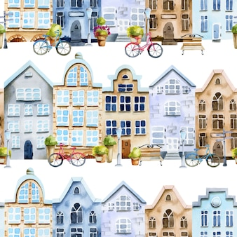 Seamless pattern of watercolor scandinavian houses street