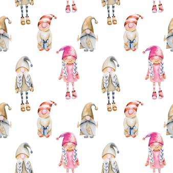 Seamless pattern of watercolor scandinavian trolls