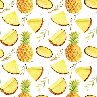 Seamless pattern of watercolor sliced pineapple, hand painted isolated illustration