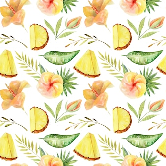 Seamless pattern of watercolor sliced pineapple and tropical green plants and leaves, hand painted isolated illustration