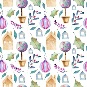 Seamless pattern of watercolor winter elements in scandinavian style
