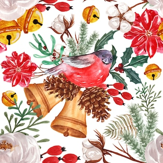 Seamless pattern watercolor winter floral with bird