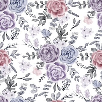 Seamless pattern of watercolor winter rose and leaves