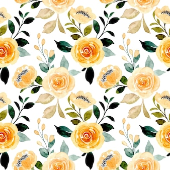 Seamless pattern of watercolor yellow rose flower