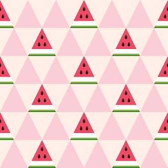 Seamless pattern of watermelon slices in the geometric style.