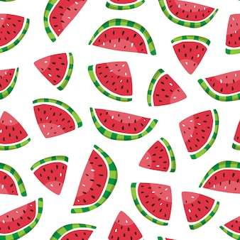 Seamless pattern of watermelon slices in the hand drawn style.