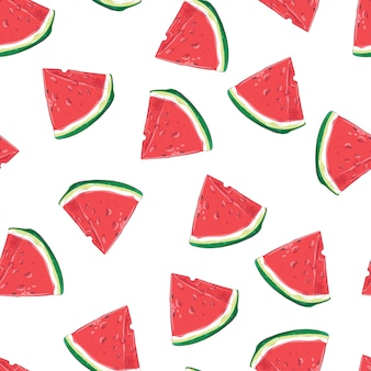 Seamless pattern of watermelon slices. vector illustration
