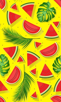 Seamless pattern watermelons with tropical leaf
