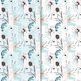 seamless pattern weasel with flowers