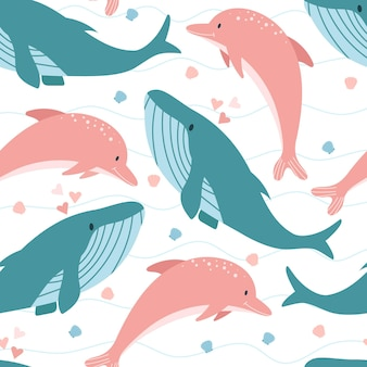 Seamless pattern of whale and dolphin