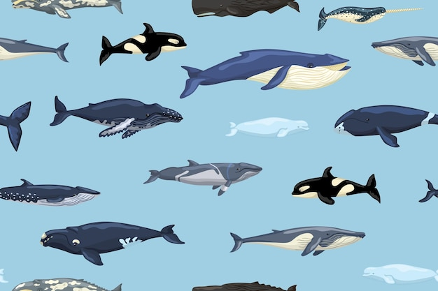 Seamless pattern whales on blue background. print of cartoon characters of ocean in scandinavian style for children. repeated texture with marine mammals. design for any purposes. vector illustration.