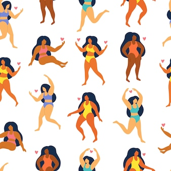 Seamless pattern on white background. cute women in swimsuit and bikini. body positive.