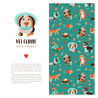Seamless pattern on white background for veterinary clinics and animal shelters