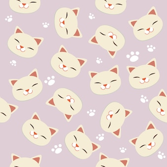 The seamless pattern of white cat and white footsteps.