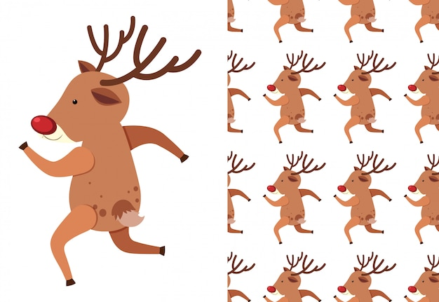A seamless pattern on white of festive reindeers