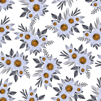 Seamless pattern of white flower bouquet for fabric