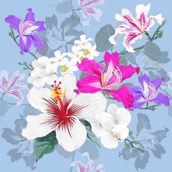 Seamless pattern white hibiscus and pink wild flowers background.
