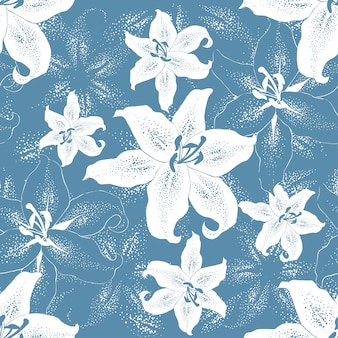 Seamless pattern white lilly flowers on blue