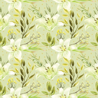 Seamless pattern of white lily flowers and green foliage