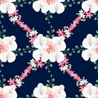 Seamless pattern white orchid and pink wild flowers background.