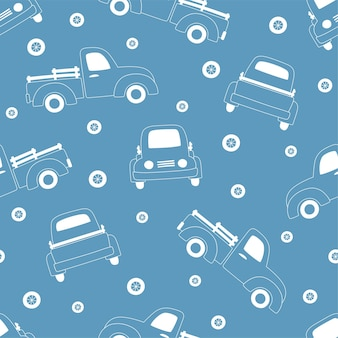 Seamless pattern of white outline pickups and wheels on blue background.
