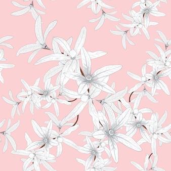 Seamless pattern white petrea volubilis flowers