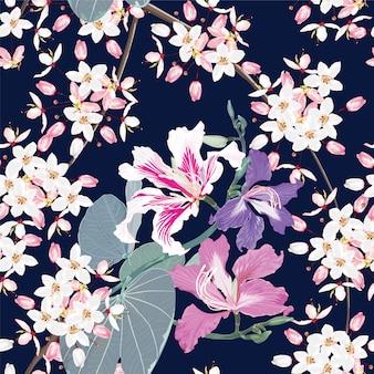 Seamless pattern white and pink kalapapruek flowers dark blue background.