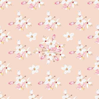 Seamless pattern white and pink kalapapruek flowers on pastel color background.