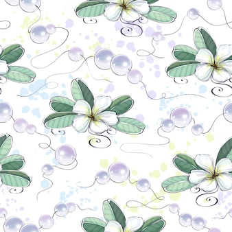 Seamless pattern of white plumeria flowers and beautiful precious pearl beads.