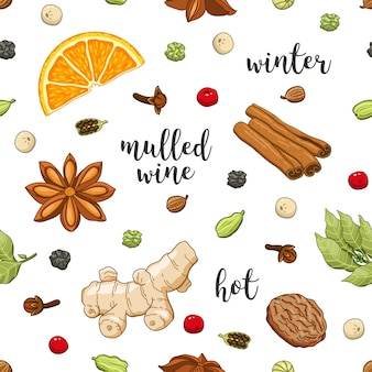 Seamless pattern on white with mulled wine