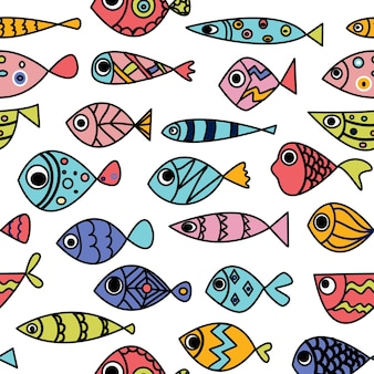 Seamless pattern whith cute hand draw fish line art doodle illustration whith bright exotic fishes