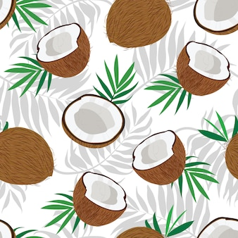 Seamless pattern whole coconut and piece