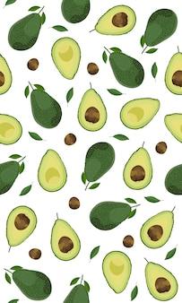 Seamless pattern whole d avocado