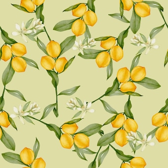 Seamless pattern of whole lemon citrus yellow fruit with green leaves