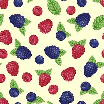Seamless pattern of wild berries