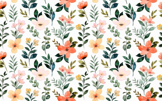 Seamless pattern of wild floral watercolor
