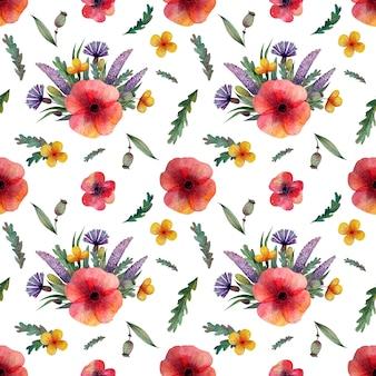 シームレスパターンの野生のポピーの花
