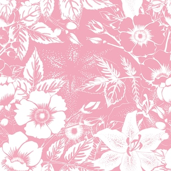 Seamless pattern wild rose pink pastel abstract background.