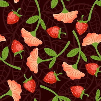 Seamless pattern of wild strawberries and red flower flat vector illustration on brown background.