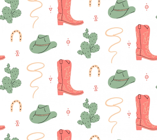 Seamless pattern. wild west, buffalo skull, eye, mountains, cactus, cowboy hat, cowboy boot, viper. vector illustration.