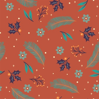 Seamless pattern of winter flora and snow.