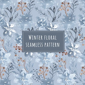 Seamless pattern of winter floral watercolor